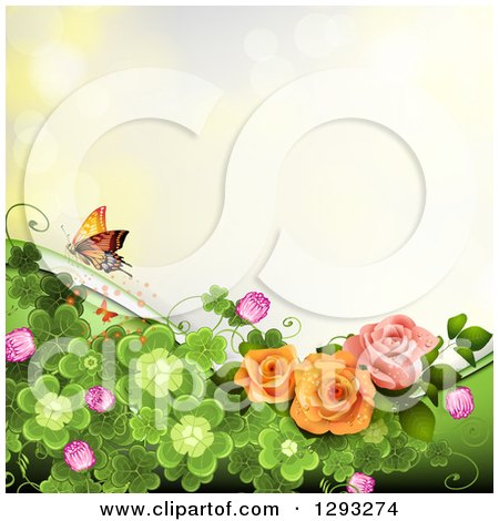 Clipart of a Floral Background with Roses, Shamrocks and a Butterfly with Bokeh Flares - Royalty Free Vector Illustration by merlinul