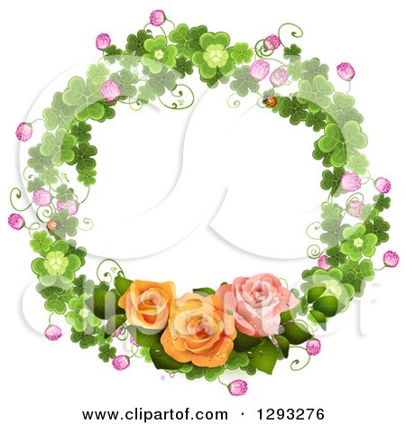 Clipart of a Shamrock Wreath with Blossoms and Roses - Royalty Free Vector Illustration by merlinul