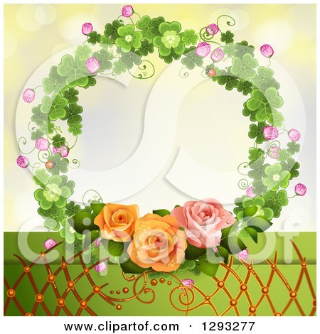 Clipart of a Shamrock Wreath with Blossoms, Lattice and Roses - Royalty Free Vector Illustration by merlinul