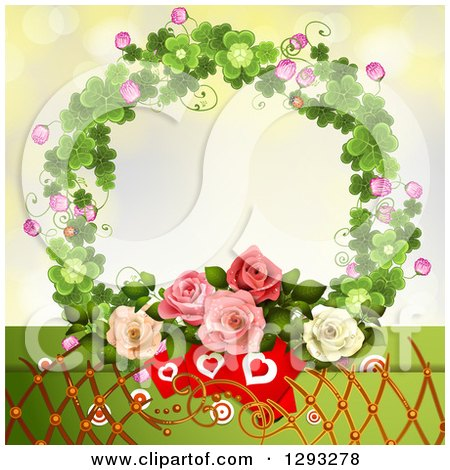 Clipart of a Valentines Day Background of Heart Cards, Lattice and Roses in a Clover Wreath - Royalty Free Vector Illustration by merlinul