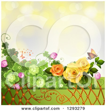 Clipart of a Floral Background with Roses, Shamrocks, Lattice and a Monarch Butterfly with Bokeh Flares - Royalty Free Vector Illustration by merlinul