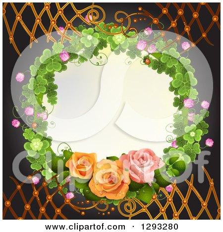 Clipart of a Shamrock Wreath with Blossoms and Roses with Lattice on Black - Royalty Free Vector Illustration by merlinul