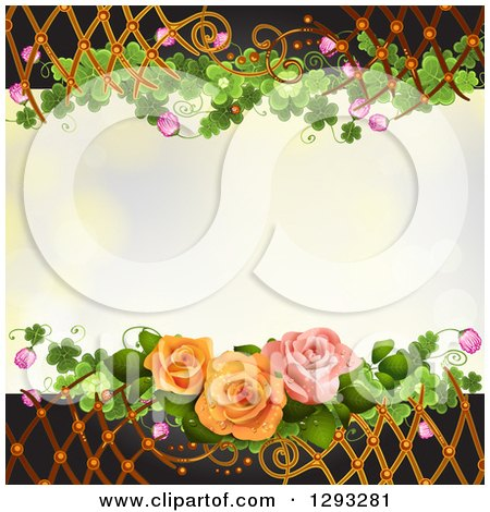 Clipart of a Floral Background with Roses, Shamrocks Blossoms and Lattice - Royalty Free Vector Illustration by merlinul