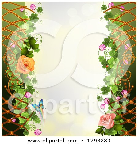 Clipart of a Floral Background with Roses, Lattice, Shamrocks and a Butterfly with Bokeh Flares - Royalty Free Vector Illustration by merlinul