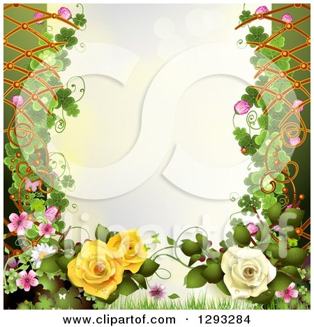 Clipart of a Floral Background with Roses, Shamrocks and Lattice with Text Space - Royalty Free Vector Illustration by merlinul