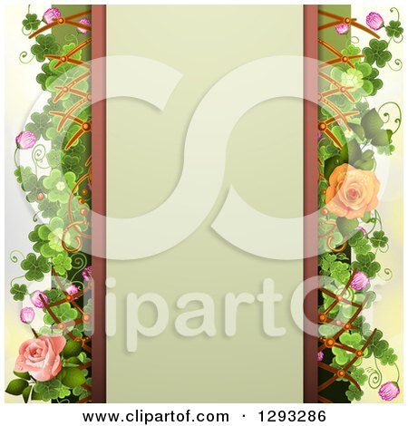 Clipart of a Floral Background a Blank Text Panel, Peach and Pink Roses, Shamrocks, Blossoms and Lattice - Royalty Free Vector Illustration by merlinul