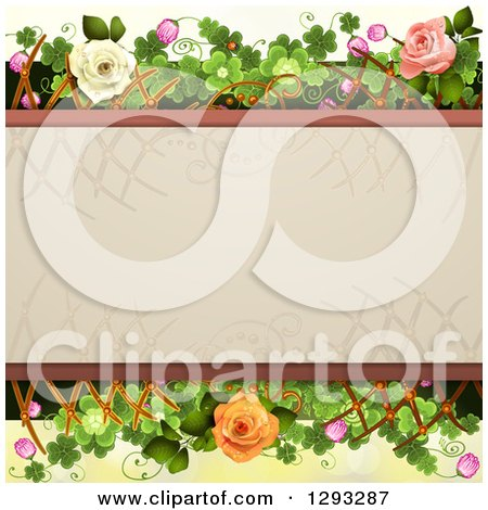 Clipart of a Floral Background with White Pink and Peach Roses, Shamrocks, Lattice and Blossoms with Text Space - Royalty Free Vector Illustration by merlinul