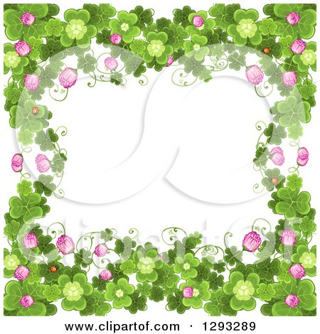 Clipart Of A St Patricks Day Background With Shamrocks Clover Flowers And Ladybugs Royalty Free Vector Illustration