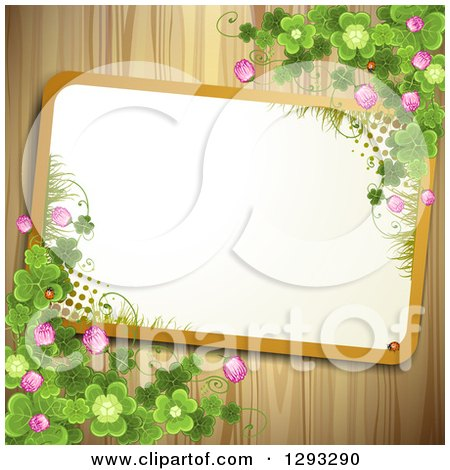 Clipart of a Slanted Frame with Grass and Halftone with St Patricks Day Shamrocks, Clover Flowers and Ladybugs on Wood - Royalty Free Vector Illustration by merlinul
