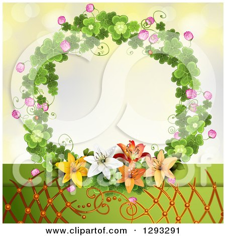 Clipart of a Shamrock Wreath with Blossoms and Lilies over Lattice - Royalty Free Vector Illustration by merlinul