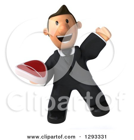 Clipart of a 3D Happy Short White Businessman Jumping with a Beef Steak - Royalty Free Illustration by Julos