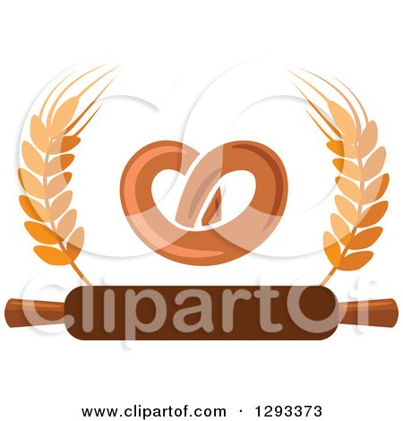 Clipart of a Soft Pretzel with Wheat and a Rolling Pin - Royalty Free Vector Illustration by Vector Tradition SM