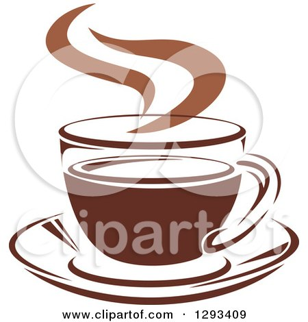 Clipart of a Two Toned Brown and White Steamy Coffee Cup on a Saucer 33 - Royalty Free Vector Illustration by Vector Tradition SM