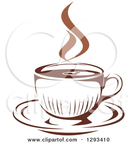Clipart of a Two Toned Brown and White Steamy Coffee Cup on a Saucer 34 - Royalty Free Vector Illustration by Vector Tradition SM