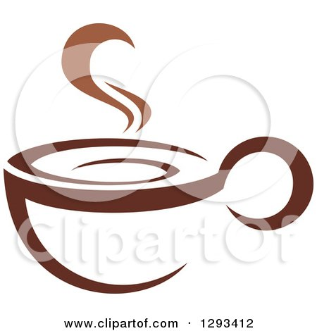 Clipart of a Two Toned Brown and White Steamy Coffee Cup 9 - Royalty Free Vector Illustration by Vector Tradition SM