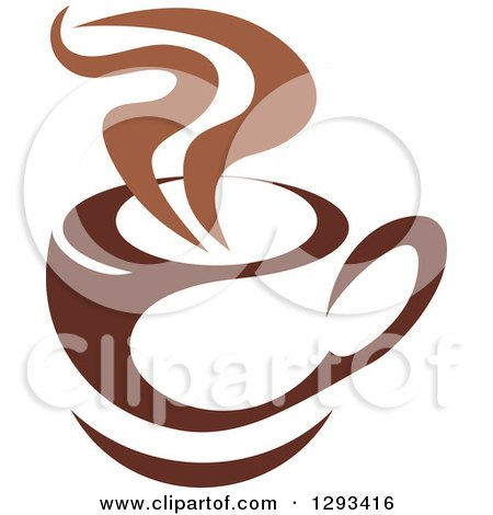 Clipart of a Two Toned Brown and White Steamy Coffee Cup on a Saucer 31 - Royalty Free Vector Illustration by Vector Tradition SM
