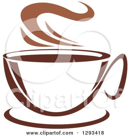 Clipart of a Two Toned Brown and White Steamy Coffee Cup on a Saucer 29 - Royalty Free Vector Illustration by Vector Tradition SM