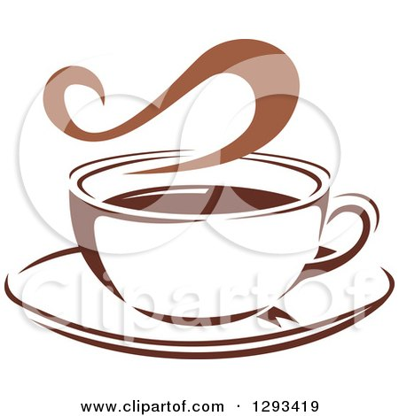 Clipart of a Two Toned Brown and White Steamy Coffee Cup on a Saucer 36 - Royalty Free Vector Illustration by Vector Tradition SM