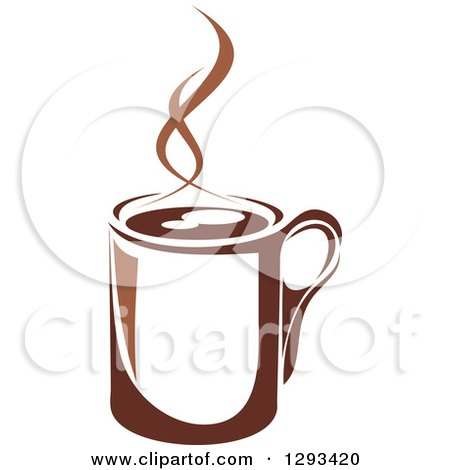 Clipart of a Two Toned Brown and White Steamy Coffee Cup 8 - Royalty Free Vector Illustration by Vector Tradition SM