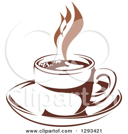 Clipart of a Two Toned Brown and White Steamy Coffee Cup on a Saucer 37 - Royalty Free Vector Illustration by Vector Tradition SM