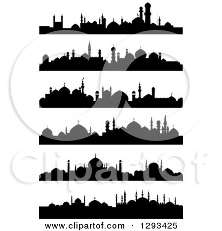 Clipart of Black Silhouetted Islamic City Skylines - Royalty Free Vector Illustration by Vector Tradition SM