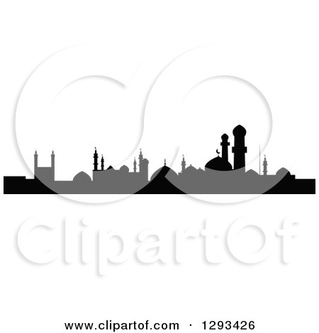 Clipart of a Black Silhouetted Islamic City Skyline - Royalty Free Vector Illustration by Vector Tradition SM
