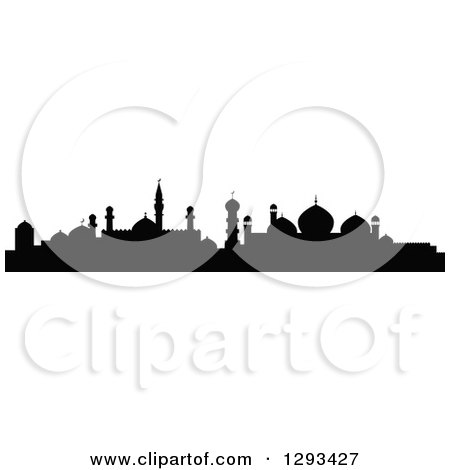 Clipart of a Black Silhouetted Islamic City Skyline 2 - Royalty Free Vector Illustration by Vector Tradition SM