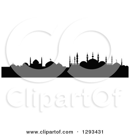 Clipart of a Black Silhouetted Islamic City Skyline 6 - Royalty Free Vector Illustration by Vector Tradition SM