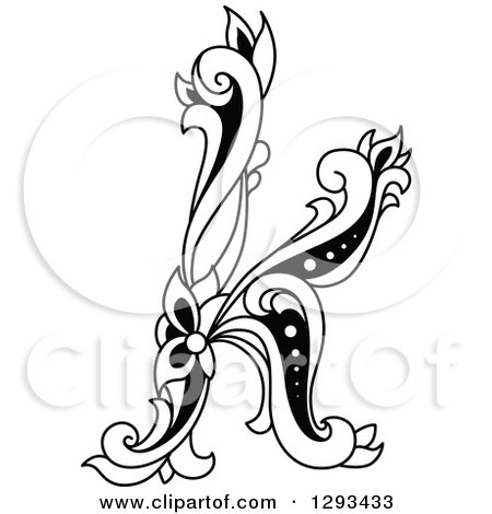 Clipart of a Black and White Vintage Lowercase Floral Letter K - Royalty Free Vector Illustration by Vector Tradition SM