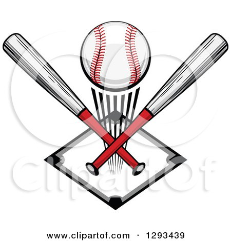 Clipart of a White and Red Baseball and Crossed Bats over a Diamond - Royalty Free Vector Illustration by Vector Tradition SM