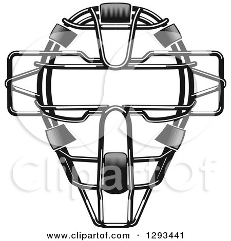 Clipart of a Grayscale Baseball Catchers Mask - Royalty Free Vector Illustration by Vector Tradition SM