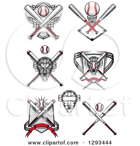 Clipart Of Baseball Crossed Bats And A Catchers Masks Royalty