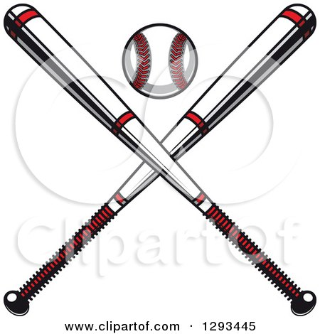 Clipart of a White and Red Baseball and Crossed Bats - Royalty Free Vector Illustration by Vector Tradition SM