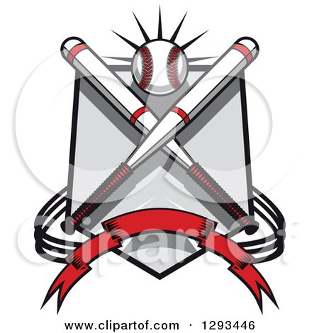 Clipart of a White and Red Baseball and Crossed Bats over a Shield and Banner - Royalty Free Vector Illustration by Vector Tradition SM