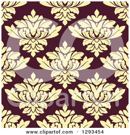 Clipart of a Seamless Pattern Background of Pastel Yellow Damask on Brown - Royalty Free Vector Illustration by Vector Tradition SM