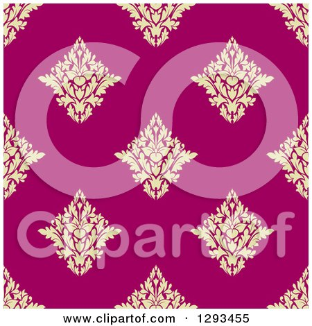 Clipart of a Seamless Pattern Background of Pastel Yellow Damask on Pink - Royalty Free Vector Illustration by Vector Tradition SM