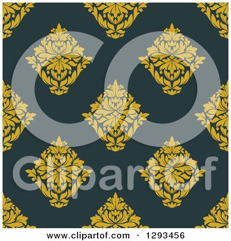 Clipart of a Seamless Pattern Background of Yellow Damask on Dark Blue - Royalty Free Vector Illustration by Vector Tradition SM