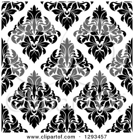 Clipart of a Seamless Pattern Background of Black Diamond Shaped Damask on White - Royalty Free Vector Illustration by Vector Tradition SM