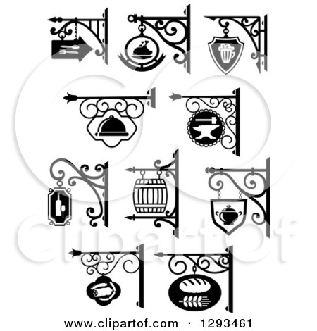 Clipart of Vintage Black and White Hanging Storefront Signs for a Bakery, Butcher Shop, Restaurant, Pub, Bar and Workshop - Royalty Free Vector Illustration by Vector Tradition SM