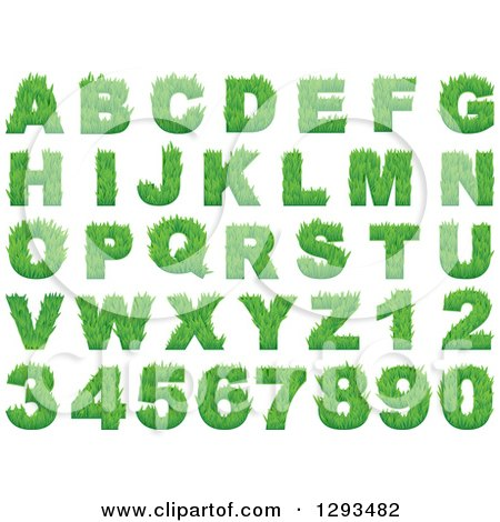 Clipart of Grassy Green Capital Alphabet Letters and Numbers - Royalty Free Vector Illustration by Vector Tradition SM