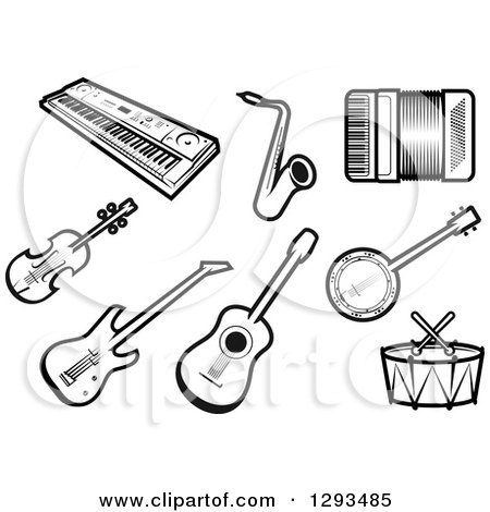Clipart of a Black and White Keyboard, Saxophone, Accordion, Violin, Guitars, Banjo and Drums - Royalty Free Vector Illustration by Vector Tradition SM
