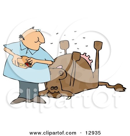 Man Eating a Hamburger by a Dead Cow Clipart Illustration by djart