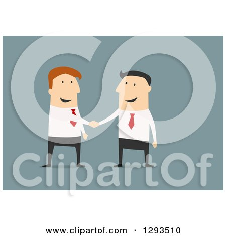 Clipart of a Flat Design of a White Businessman Boss Shaking Hands with a Partner or Employee, on Blue - Royalty Free Vector Illustration by Vector Tradition SM