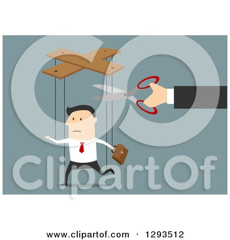 Clipart of a Flat Design of a White Businessman Being Cut from Marionette Strings, over Blue - Royalty Free Vector Illustration by Vector Tradition SM