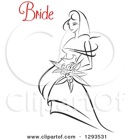 Clipart of a Sketched Black and White Bride Holding a Bouquet of Flowers with Red Text - Royalty Free Vector Illustration by Vector Tradition SM