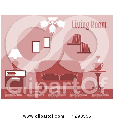 Clipart of a Brown Living Room Interior with Text - Royalty Free ...