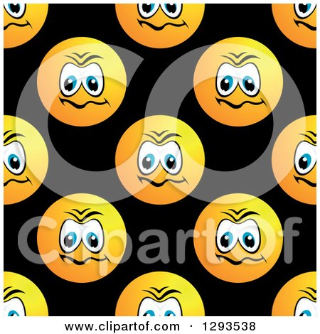 Clipart of a Seamless Pattern Background of Upset or Mad Smiley Faces on Black - Royalty Free Vector Illustration by Vector Tradition SM