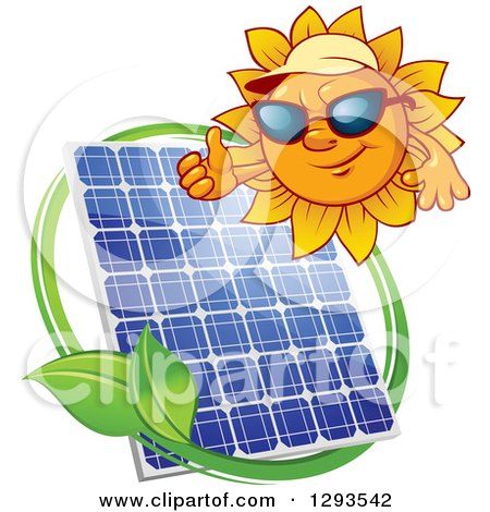 Clipart of a Sun Character Wearing Shades and a Visor and Giving a Thumb up over a Solar Panel Encircled with a Swoosh and Green Leaf - Royalty Free Vector Illustration by Vector Tradition SM
