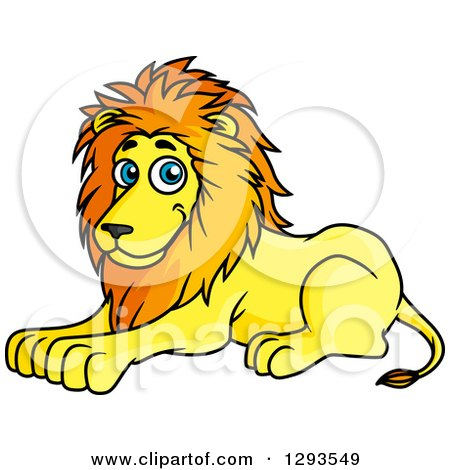 Clipart of a Cartoon Happy Resting Male Lion - Royalty Free Vector Illustration by Vector Tradition SM