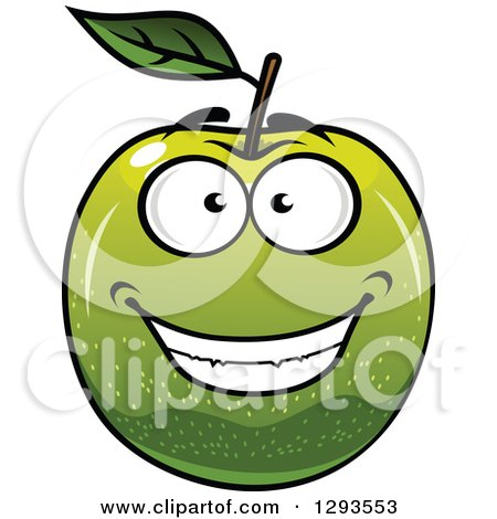 Clipart of a Happy Green Apple Grinning - Royalty Free Vector Illustration by Vector Tradition SM